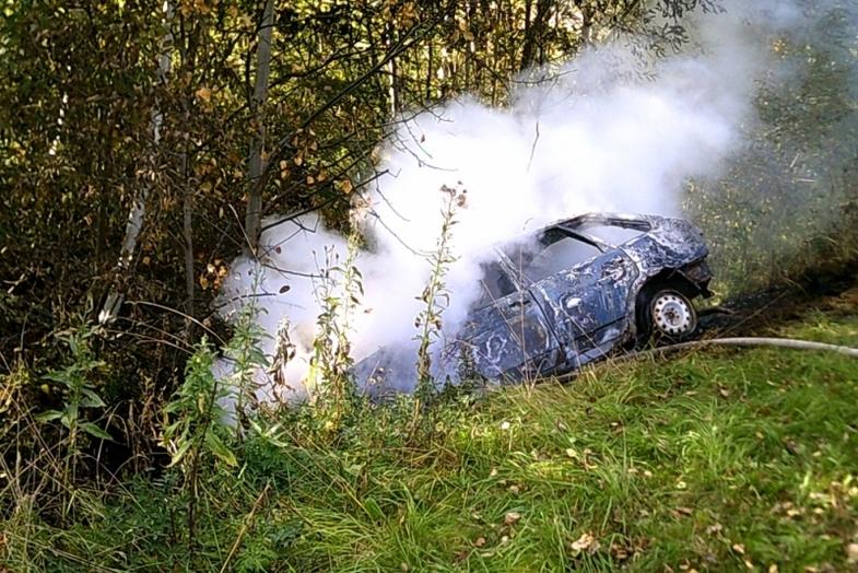 ВЯрославской области автомобиль слетел сдороги и моментально вспыхнул